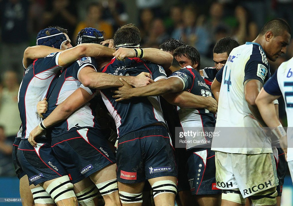 The Rebels celebrate after they defeated the Blues at the round seven Super Rugby match between the Melbourne Rebels and the Auckland Blues at AAMI Park on April 5, 2012 in Melbourne, Australia.