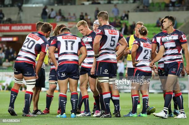 The Rebels stand behing their line after conceeding a try during the round four Super Rugby match between the Rebels and the Chiefs at AAMI Park on...
