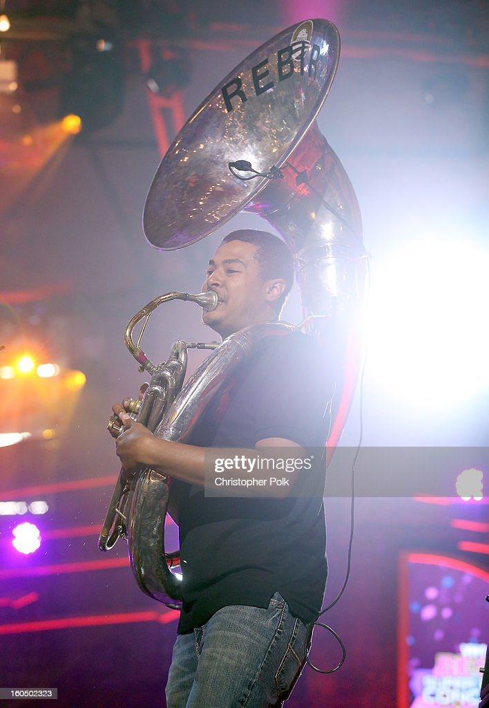 The Rebirth Brass Band performs with Train during the VH1 Best Super Bowl Concert Ever at Sugar Mill on February 1, 2013 in New Orleans, Louisiana.