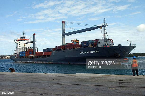 The recently released German vessel the 'Hansa Stavanger' arrives on August 8 at the Kenyan port of Mombasa after having been held several months by...