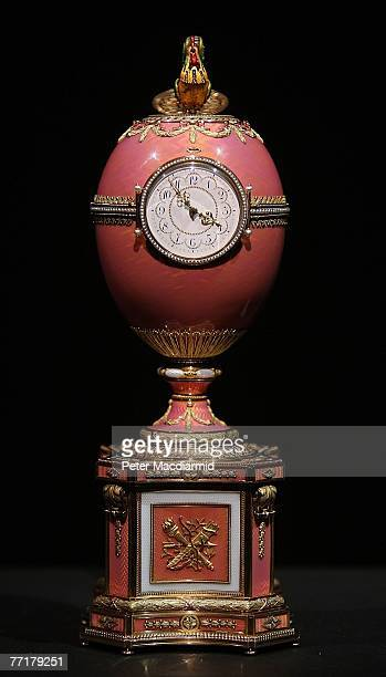 The recently unveiled Rothschild Faberge Egg is displayed at Christie's auctioneers on October 4 2007 in London The Faberge masterpiece is expected...
