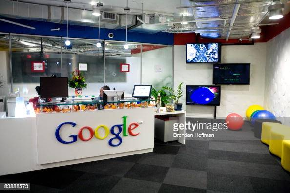 The reception area at Google's offices on December 2 2008 in Washington DC Google hosted a roundtable discussion focused on clean energy policy which...