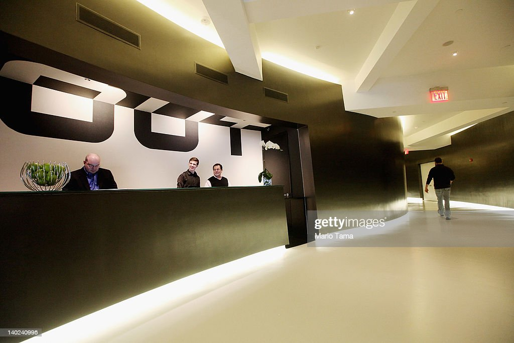 The reception area is seen at a new gay resort hotel, THE OUT NYC, in midtown Manhattan after the ribbon-cutting ceremony on March 1, 2012 in New York City. The 105-room gay urban resort, which is 'straight-friendly,' is set to open March 1 in the Hell's Kitchen neighborhood and features a nightclub, spa, restaurant and outdoor spaces. It is being billed as New York City's first gay hotel.