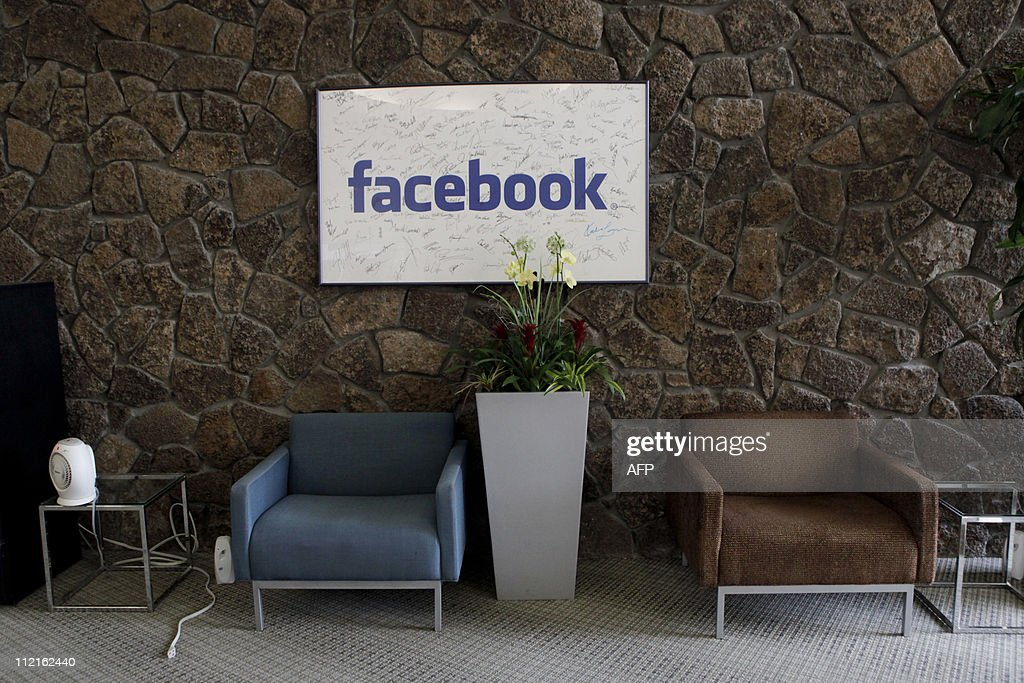 The reception at the Facebook headquarters in Palo Alto, CA on Wednesday, April 13, 2011. AFP PHOTO / Ryan Anson
