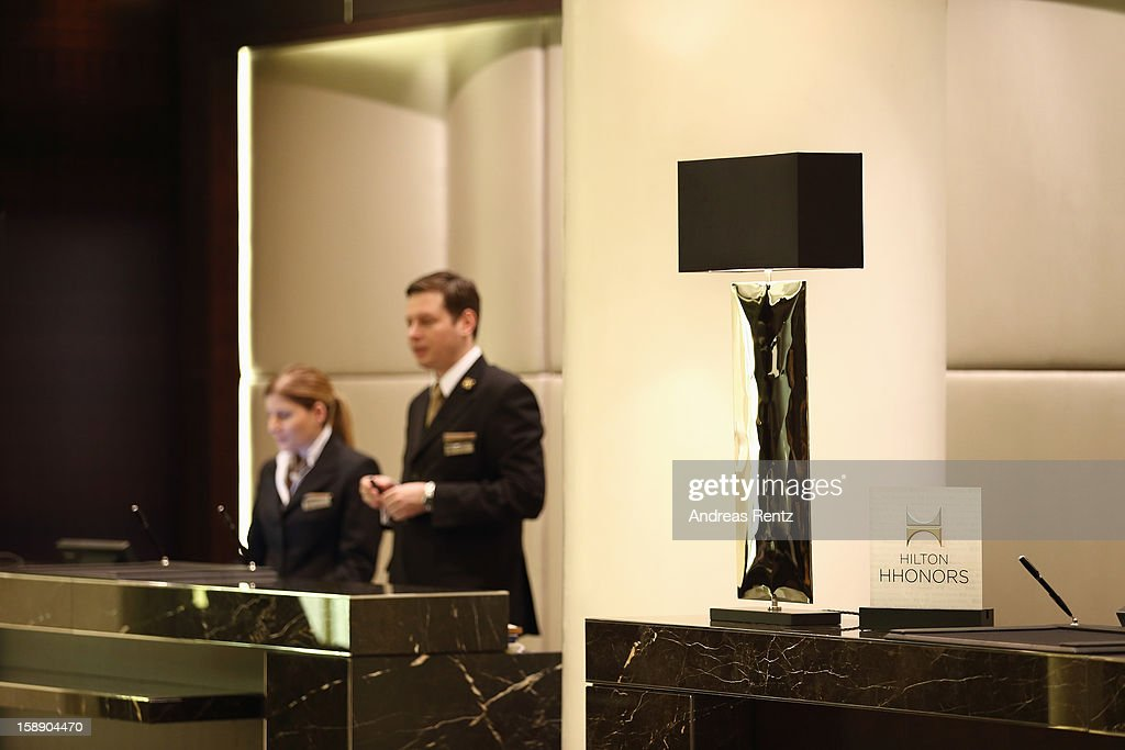The reception is pictured during the opening of Germany's first Waldorf Astoria hotel on January 3, 2013 in Berlin, Germany. The luxury Waldorf Astoria Berlin with its 232 luxury guest rooms and suites on 32 storeys is located near the Kaiser Wilhelm Memorial Church (Kaiser-Wilhelm-Gedächtniskirche).