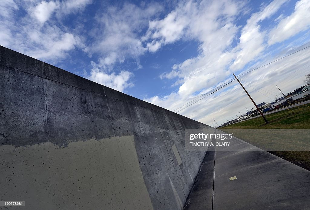 The reconstructed levee in the Lower Ninth Ward of New Orleans is seen on February 5, 2013. The Ninth Ward suffered the worst damage from Hurricane Katrina that occured in 2005 after multiple breaches in the levees of at least four canals. As of March 2009, hundreds of houses have been rebuilt, and dozens of new homes have been constructed.