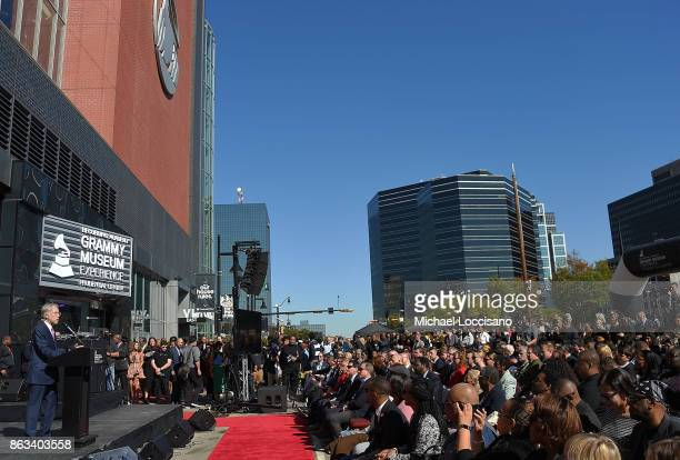 The Recording Academy president Neil Portnow addresses the audience during the Grammy Museum Experience Prudential Center RibbonCutting Ceremony at...