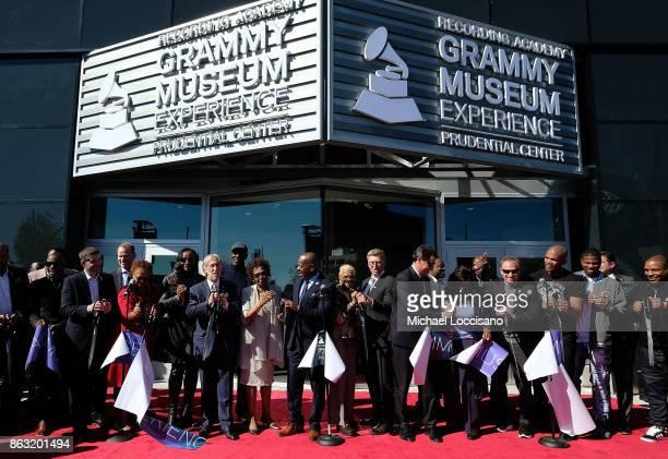 The Recording Academy president Neil Portnow Prudential Center and NJ Devils owners Josh Harris and David Blitzer singer Cissy Houston Newark Mayor...