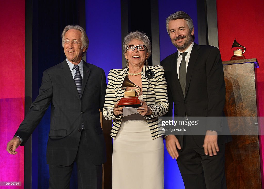 The Recording Academy President/CEO <a gi-track='captionPersonalityLinkClicked' href=/galleries/search?phrase=Neil+Portnow&family=editorial&specificpeople=208909 ng-click='$event.stopPropagation()'>Neil Portnow</a> (L) and Gavin Lurssen (R) present a Lifetime Achievement Award to singer/actress <a gi-track='captionPersonalityLinkClicked' href=/galleries/search?phrase=Rita+Moreno&family=editorial&specificpeople=210549 ng-click='$event.stopPropagation()'>Rita Moreno</a> (C) at the 2012 Latin Recording Academy Special Awards during the 13th annual Latin GRAMMY Awards at the Four Seasons Hotel on November 14, 2012 in Las Vegas, Nevada.