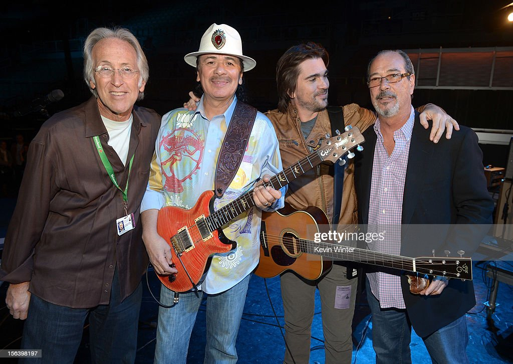 The Recording Academy President/CEO Neil Portnow, and recording artists Carlos Santana and Juanes and executive producer of the Latin GRAMMY Awards Francisco Suarez appear onstage during rehearsals for the 13th annual Latin GRAMMY Awards at the Mandalay Bay Events Center on November 14, 2012 in Las Vegas, Nevada.