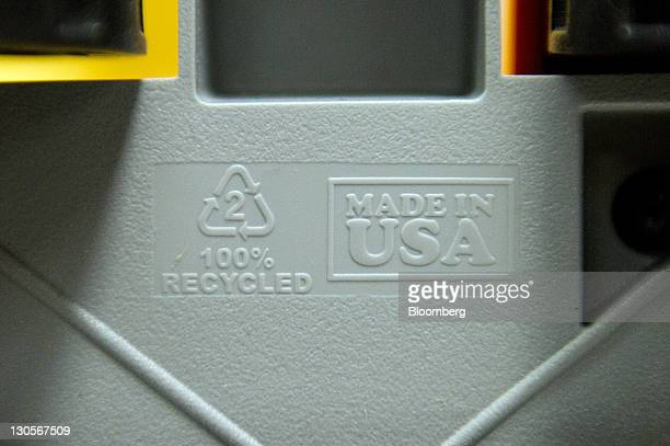 The recycled and Made In USA stamps are seen bottom of a Green Toys Inc toy truck at the Central Region Employment Services Center Work Center in San...