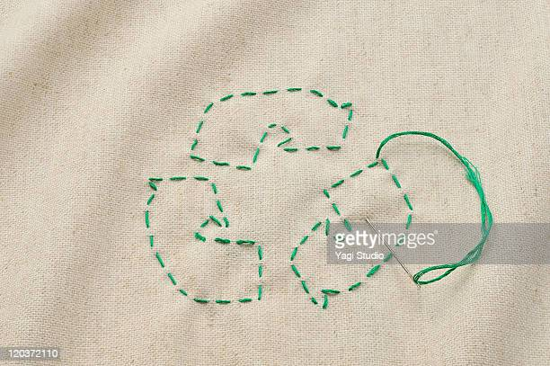 The recycling mark that it was sewn with a thread