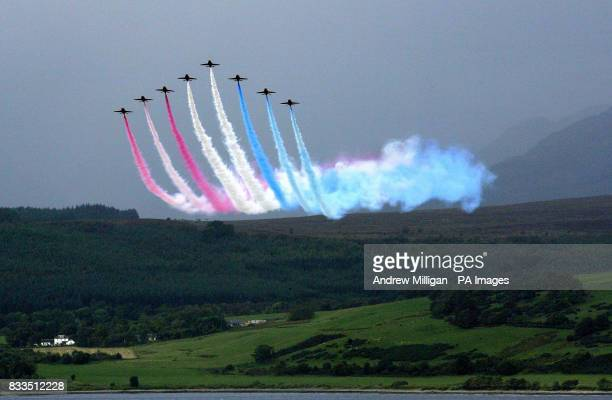 The Red Arrows arrive for a fly past of the QE2 in Greenock