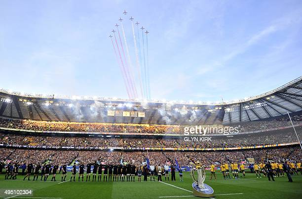 The Red Arrows fly above Twickenham Stadium before the start of the final match of the 2015 Rugby World Cup between New Zealand and Australia at...