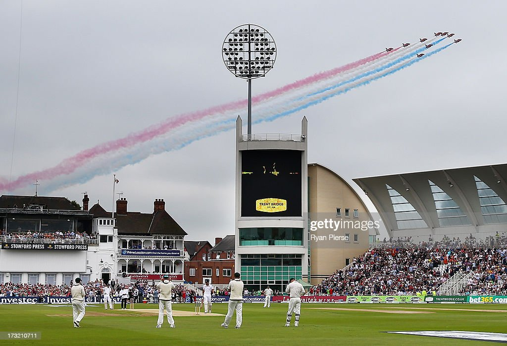 The Red Arrows fly over before day one of the 1st Investec Ashes Test match between England and Australia at Trent Bridge Cricket Ground on July 10, 2013 in Nottingham, England.