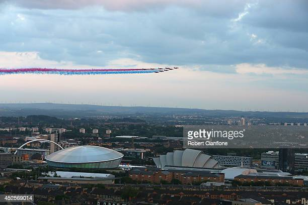 The Red Arrows fly over Glasgow city during the Opening Ceremony for the Glasgow 2014 Commonwealth Games at Celtic Park on July 23 2014 in Glasgow...