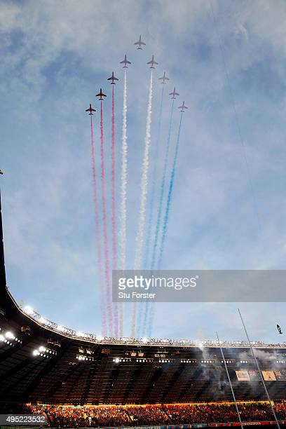 The Red Arrows fly over the stadium before the 2015 Rugby World Cup Final match between New Zealand and Australia at Twickenham Stadium on October 31...