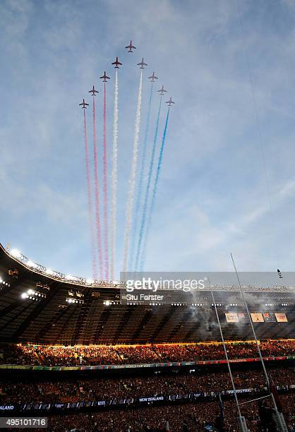 The Red Arrows perform a fly pass ahead of the 2015 Rugby World Cup Final match between New Zealand and Australia at Twickenham Stadium on October 31...