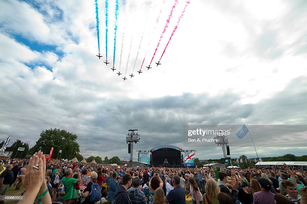 The Red Arrows perform at The Isle of Wight Festival as Seaclose Park on June 15 2014 in Newport Isle of Wight