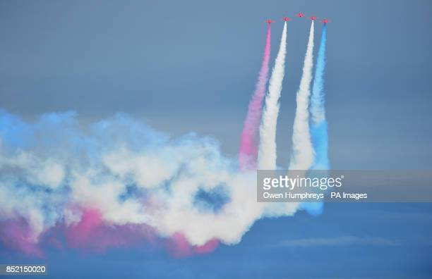 The Red Arrows put on a display at the end of the great North Run in South Shields