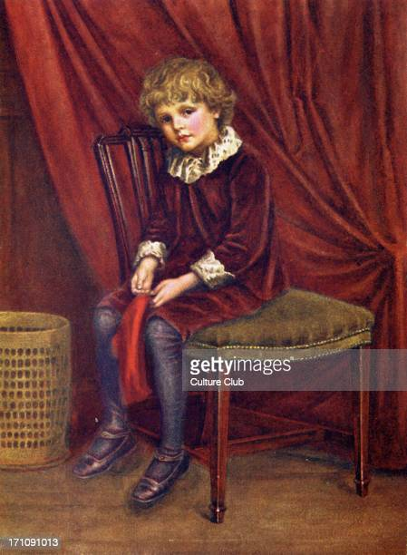 'The red boy' by Kate Greenaway Victorian boy wearing red velvet breeches and stockings
