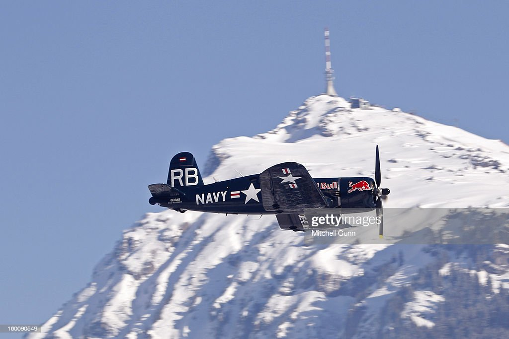 The Red Bull Air Display Team perform before the Audi FIS Alpine Ski World Cup Downhill on January 26, 2013 in Kitzbuhel, Austria,
