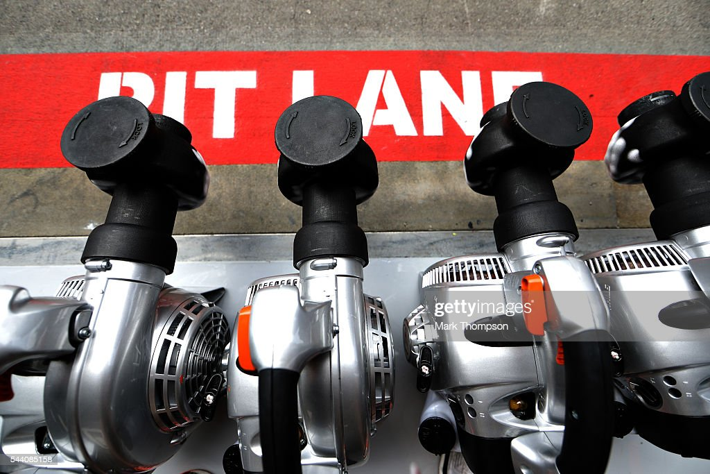 The Red Bull Racing radiator blowers in the Pitlane during practice for the Formula One Grand Prix of Austria at Red Bull Ring on July 1, 2016 in Spielberg, Austria.