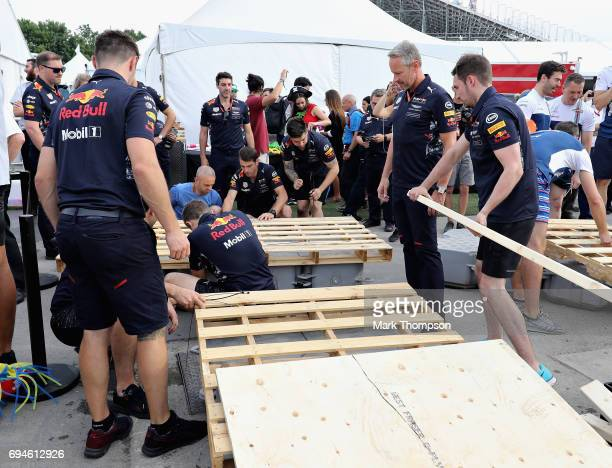 The Red Bull Racing team prepare their raft for the raft race after qualifying for the Canadian Formula One Grand Prix at Circuit Gilles Villeneuve...