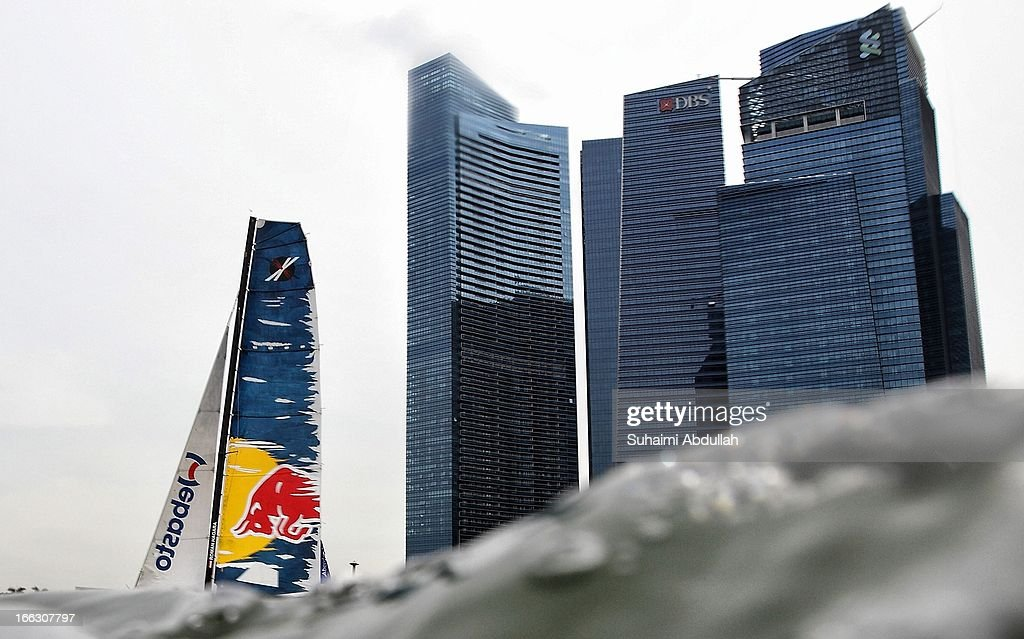 The Red Bull Sailing Team sails during day one of the Extreme Sailing Series at Marina Bay Reservoir on April 11, 2013 in Singapore.