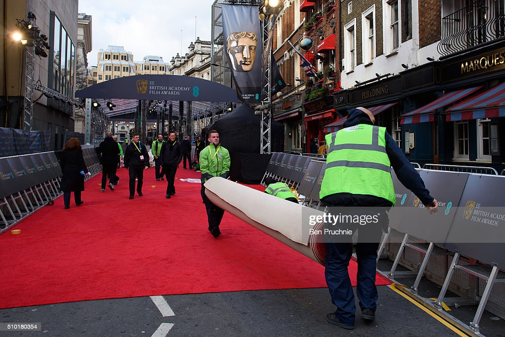 The red carpet is laid ahead of the 69th EE British Academy Film Awards at The Royal Opera House on February 14, 2016 in London, England. .