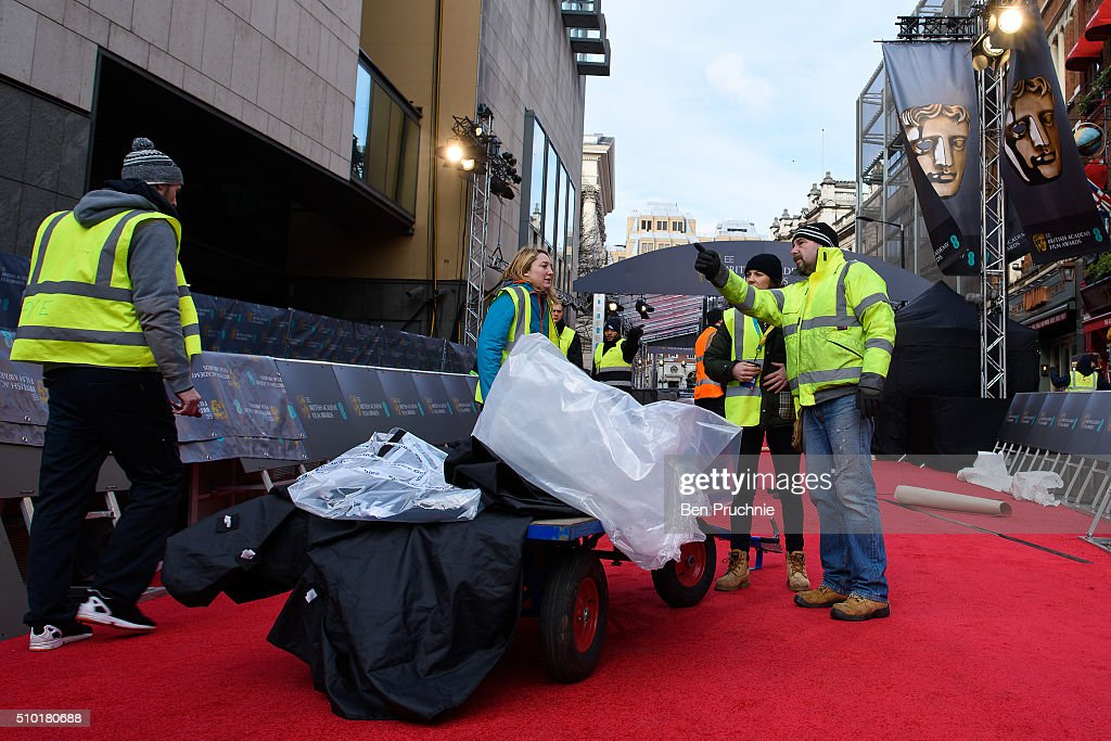 The red carpet is laid ahead of the 69th EE British Academy Film Awards at The Royal Opera House on February 14, 2016 in London, England.