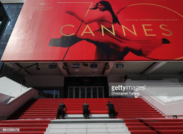 The red carpet is rolled out for the start of the 70th annual Cannes Film Festival at the Palais des Festivals on May 17 2017 in Cannes France...