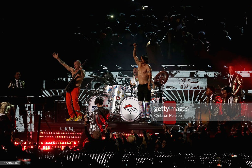 The Red Hot Chili Peppers perform during the Pepsi Super Bowl XLVIII Halftime Show at MetLife Stadium on February 2, 2014 in East Rutherford, New Jersey.