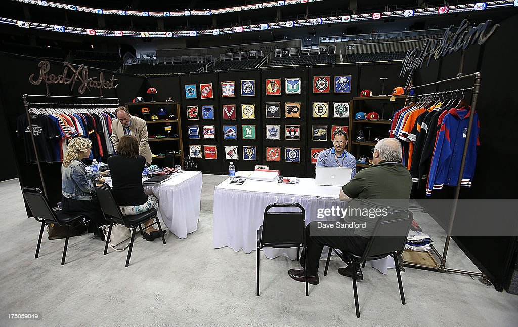 The Red Jacket/America Needle booth during 2013 NHL Exchange the annual NHL Licensed Products forum at the Consol Energy Center on July 30, 2013 in Pittsburgh, Pennsylvania.
