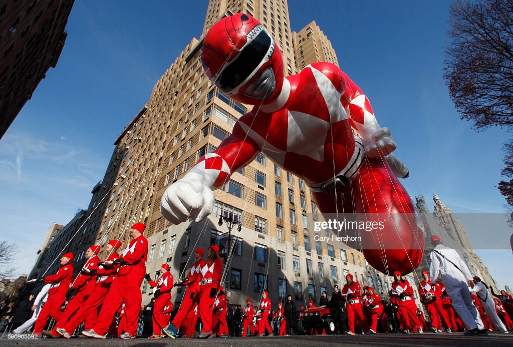 The Red Mighty Morphin Power Ranger balloon floats down Central Park West in the Macy's Thanksgiving Day Parade in New York November 26 2015