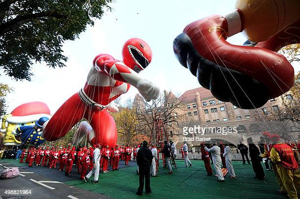 The Red Mighty Morphin Power Ranger Balloon Takes Flight At The 89th Annual Macy's Thanksgiving Day Parade on November 26 2015 in New York City