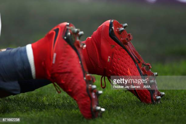 The Red Nike Hypervenom football boots of Jose Solomon Rondon of West Bromwich Albion during the Premier League match between Huddersfield Town and...