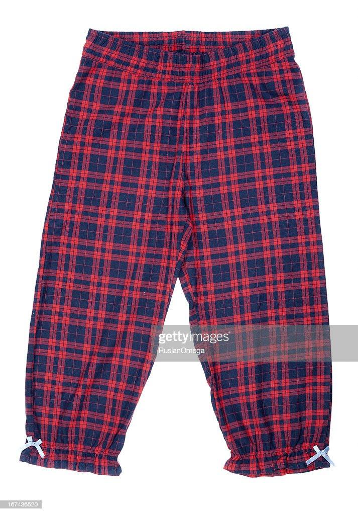 The red plaid pajama pants : Stock Photo