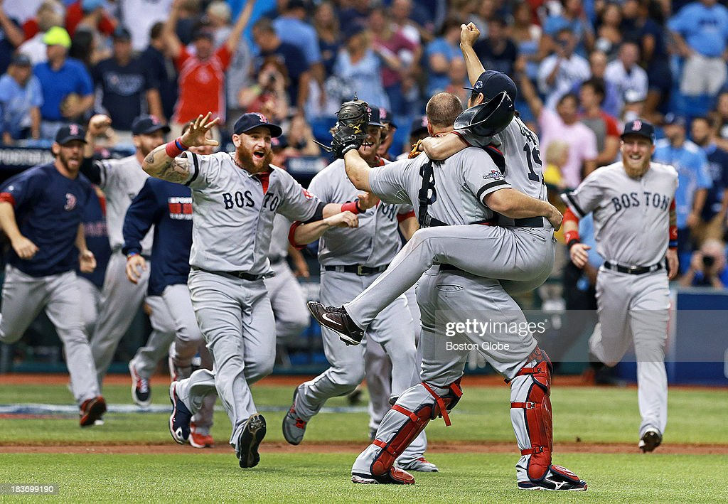 The Red Sox celebrate their series clinching victory. The Boston Red Sox visited the Tampa Bay Rays in Game Four of the ALDS baseball playoffs at Tropicana Field.