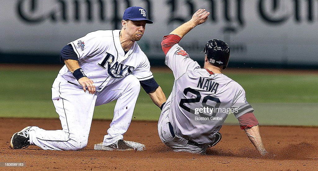 The Red Sox Daniel Nava is caught stealing in the top of the eighth inning, as Rays second baseman Ben Zobrist makes the tag. The Boston Red Sox visited the Tampa Bay Rays in Game Four of the ALDS baseball playoffs at Tropicana Field.