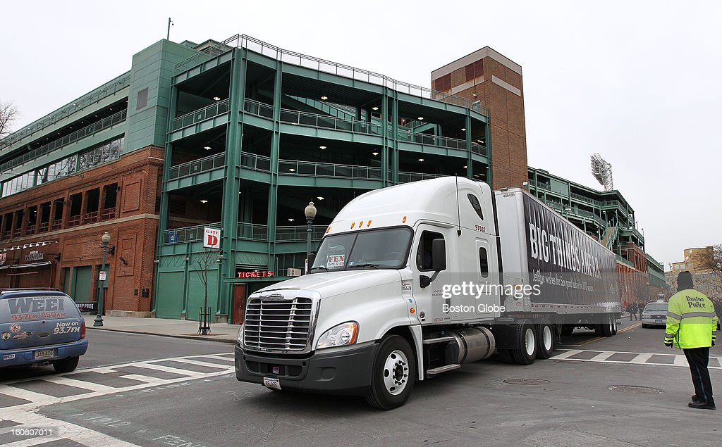 The Red Sox equipment truck gets packed and leaves Boston for Florida, on Tuesday, Feb. 5, 2013.