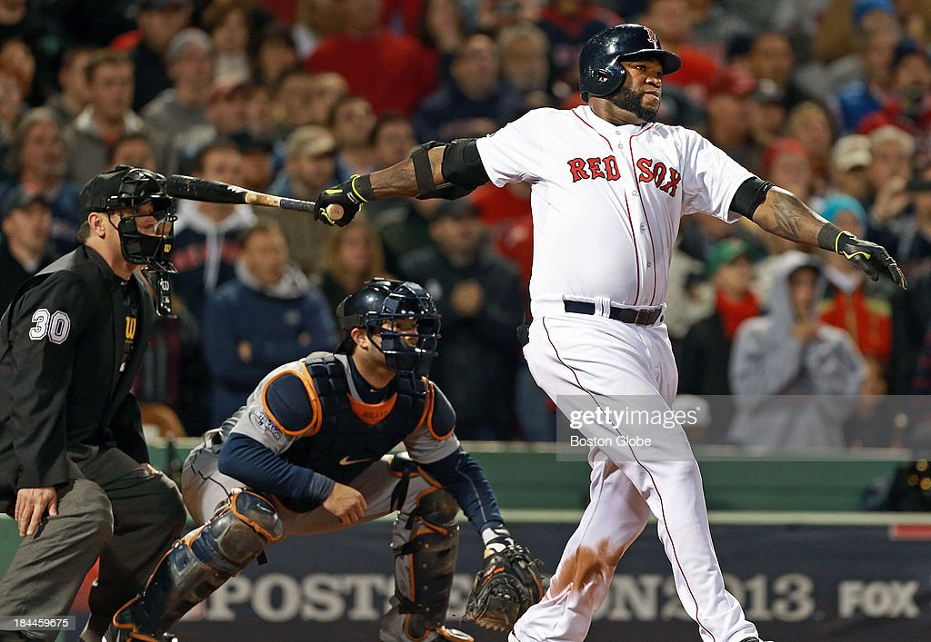 The Red Sox's David Ortiz blasts an eighth inning grand slam to tie the game at 5-5. The Boston Red Sox hosted the Detroit Tigers in Game Two of the American League Championship Series at Fenway Park.