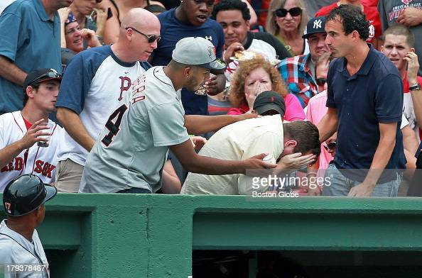 The Red Sox's Shane Victorino led of the bottom of the sixth inning and he hit a scalding foul ball that appeared to hit a fan sitting in the front...