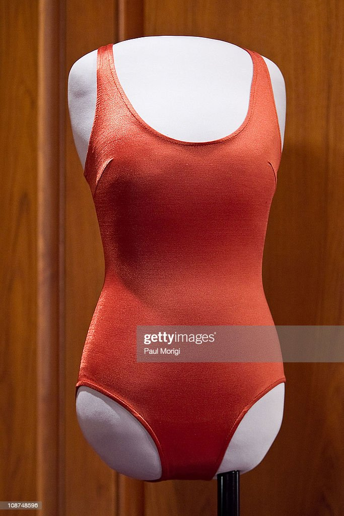 The red swimsuit Farrah Fawcett wore in her iconic 1976 poster is donated to the Smithsonian National Museum Of American History on February 2, 2011 in Washington, DC. Fawcett died of cancer June 25, 2009.