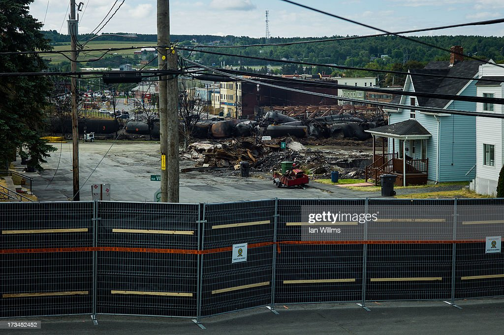 The 'red zone' crash site, on July 14, 2013 in Lac-Megantic, Quebec, Canada. A train derailed and exploded into a massive fire that flattened dozens of buildings in the town's historic district, leaving 60 people dead or missing in the early morning hours of July 6.