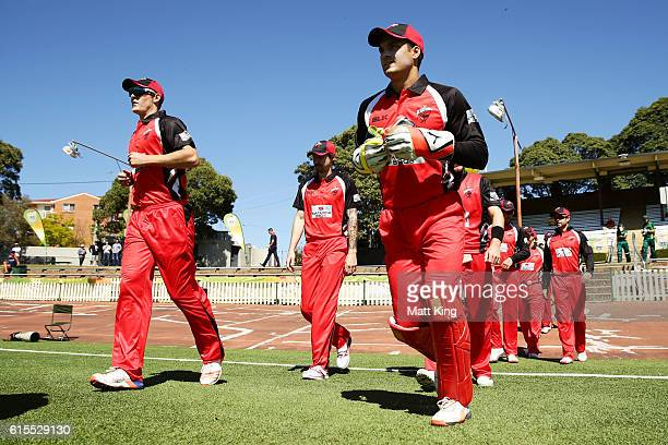 The Redbacks take to the field during the Matador BBQs One Day Cup match between South Australia and Tasmania at Hurstville Oval on October 19 2016...