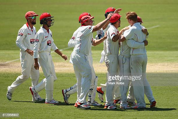 The Redbacks team congratulate Travis Head and Tom Andrews of the Redbacks as they celebrate combining to take the wicket of Nic Maddinson of the...