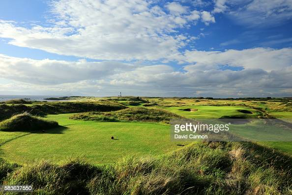 The redesigned 171 yards par 3 sixth hole of the Ailsa Course at the Trump Turnberry Resort on July 11 2016 in Turnberry Scotland