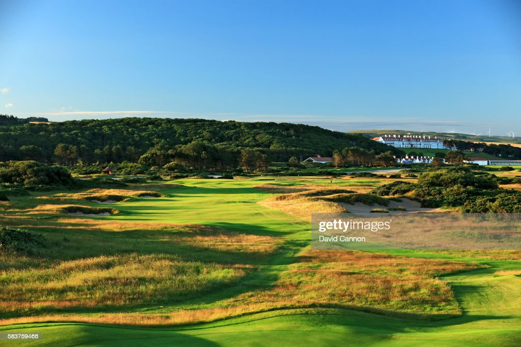 The redesigned 409 yards par 4 13th hole of the Ailsa Course at the Trump Turnberry Resort on July 19 2016 in Turnberry Scotland
