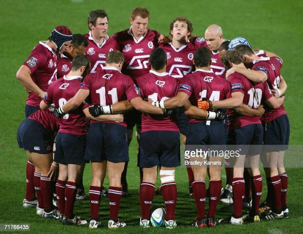 The Reds team huddle together before the Rugby match between the Queensland Reds and a Fiji Development team at Ballymore on September 1 2006 in...